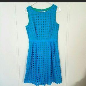 Ann Taylor Loft Blue Eyelet Dress 10p